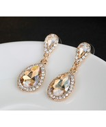 Wedding Rose Gold Plated Rhinestone Champagne Earrings  - $8.00