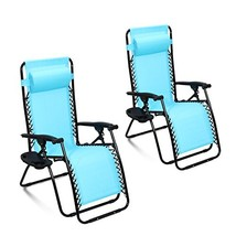 Ollieroo 2-Pack Blue Zero Gravity Lounge Chair with Pillow and Utility T... - $138.14