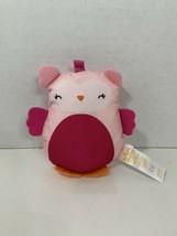 Bright Starts small plush pink orange owl baby rattle crinkle toy  - $9.89
