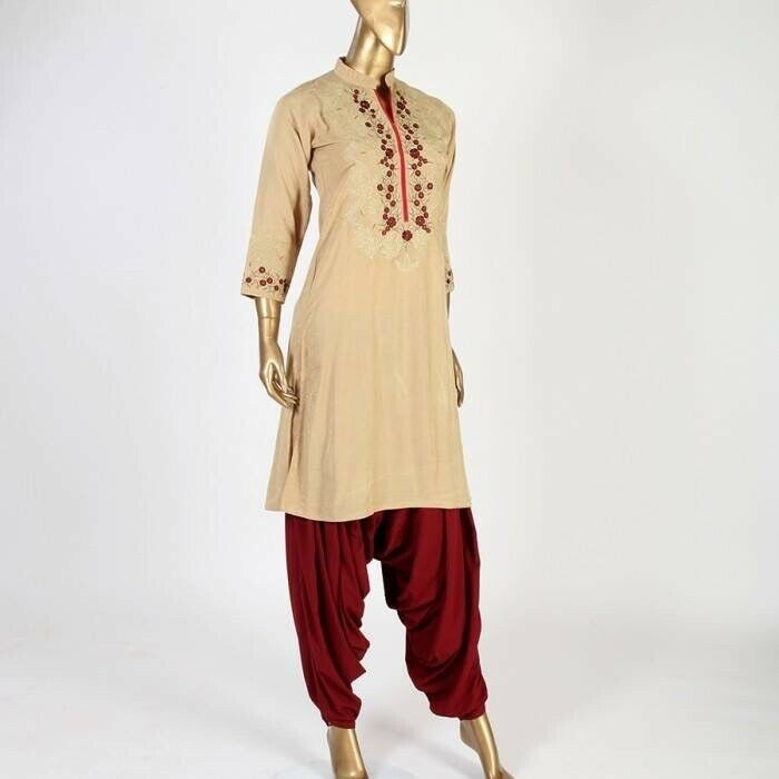 Primary image for Beige small pakistani kurta with Thread Embroidery