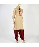 Beige small pakistani kurta with Thread Embroidery - $39.60