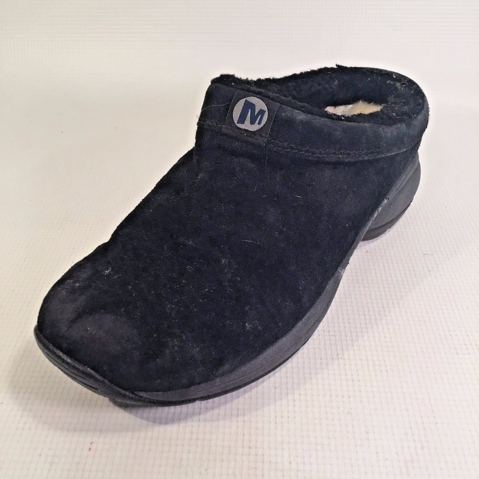 Women's MERRELL Black Suede Mules Fleece Insole 8 - 8 1/2 M