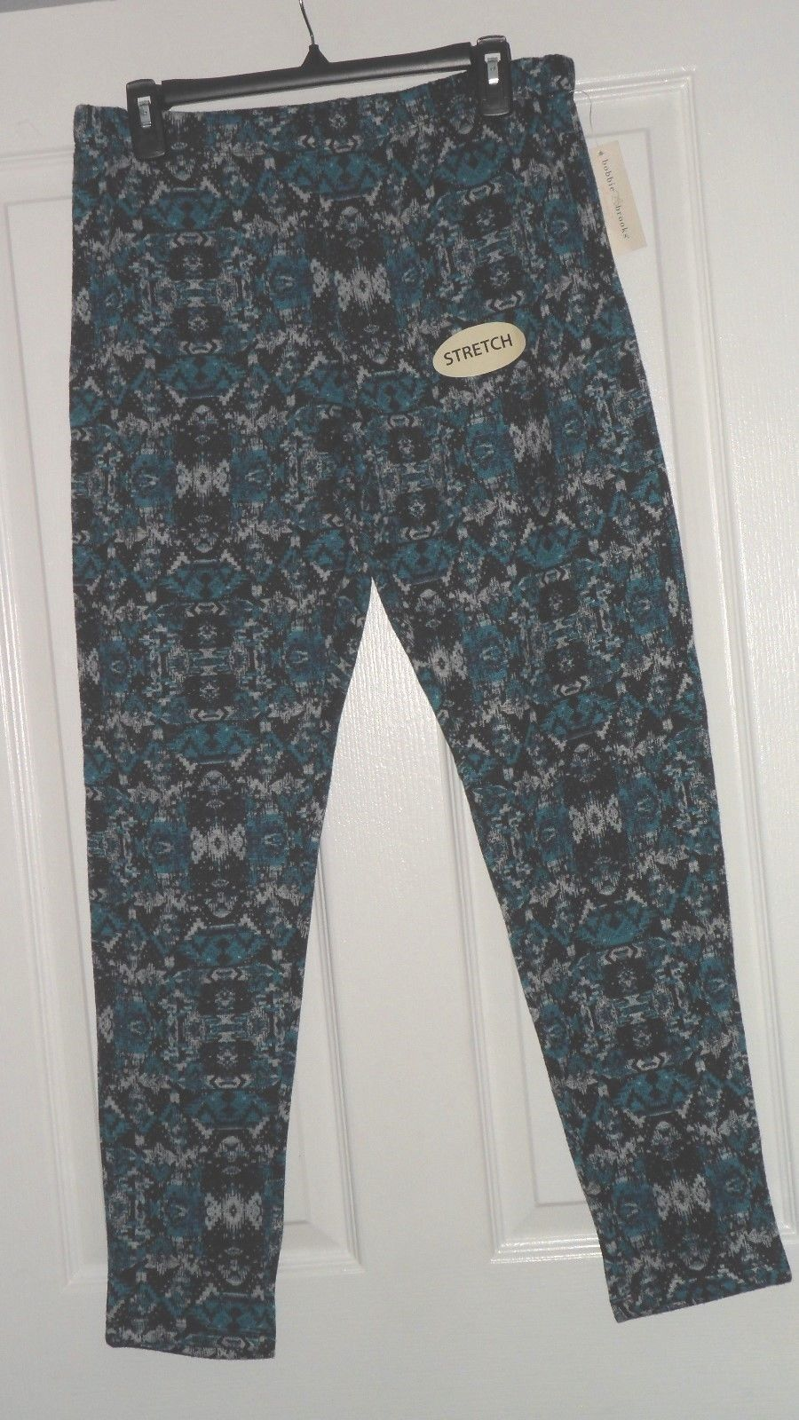 BOBBIE BROOKS LEGGINGS SIZE L TEAL PRINT STRETCH NWT