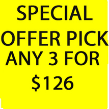 FRI-SUN  PICK ANY 3 FOR $126 DEAL BEST OFFERS DISCOUNT MAGICK  - $252.00