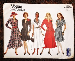 Vogue Vtg Wrap Dress 20 22 24 Uncut Easy Sewing Pattern 2988 Plus Flare  - $13.59