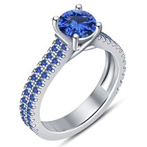 Solitaire With Accents Ring Round Cut Blue Sapphire White Gold Plated 92... - $96.77 CAD