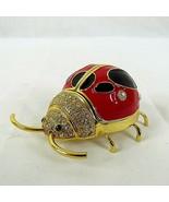 """Ladybug Trinket Box Bejeweled Enameled 1.5 x  2.5"""" Small Mini Bug Vintage - $24.75"""