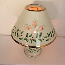 Lenox Holiday Dimension Candle Lamp Porcelain Christmas Tall Red Berries Xmas - $24.65