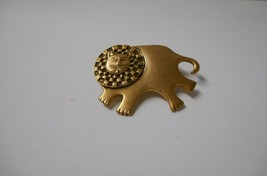 "Signed Laurel Burch~""2006 Bartholomew"" Lion in all Gold Plate~Pin/Brooch  - $18.50"