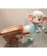 VTG 1950 Norseen CA Ceramic Smile Elephant Trunk Up Planter Vase  Cart B... - $29.99