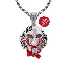 TSANLY 6ix9ine Chain Necklace Saw Inspired White Gold Plated with Tekash... - $78.07