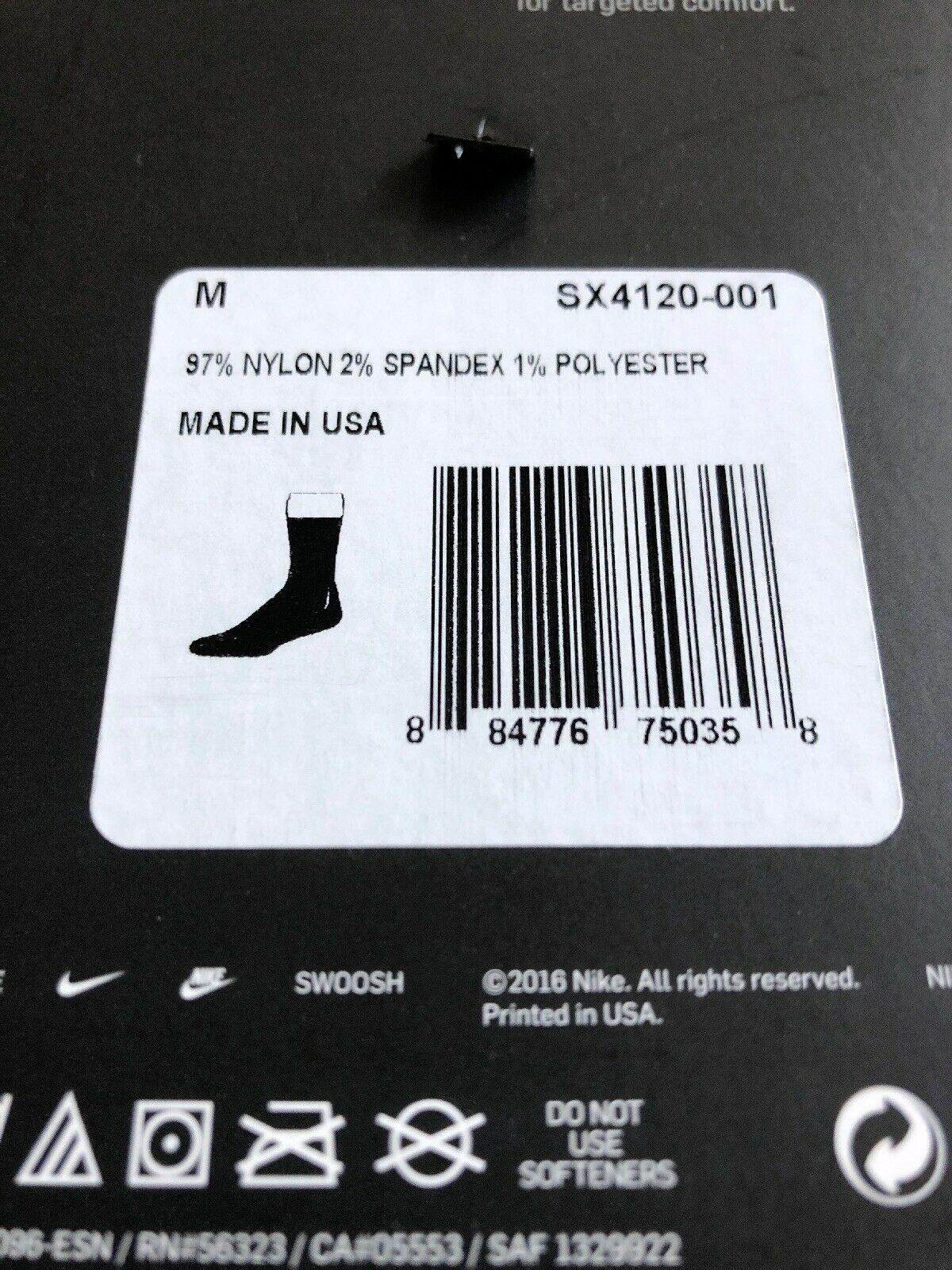 Nike Classic Soccer Socks SX4120 001 Adult All Black Dri Fit Size Medium image 3