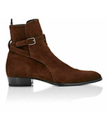 Handmade Men Jodhpurs Buckle Suede Leather Boots High Ankle Suede Leather Shoes - $137.68 - $160.63