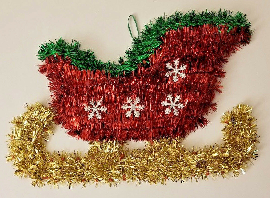 "Primary image for Christmas House Tinsel Sled Gold Red Green Wall Decor, 13.58"" X 9.06"""