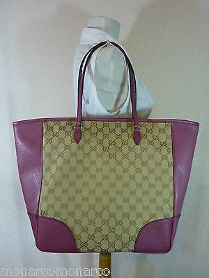 AUTH NWOT GUCCI Beige/Ebony/Dusty Rose Canvas/Leather Bree GG Tote image 4
