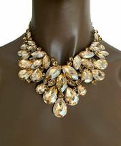 Elegant Evening Bib Statement Necklace Earring Set Light Brown Champagne Crystal - $45.60