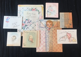 Set of 8 Vintage 40s illustrated Birth/Baby card art (Set B)