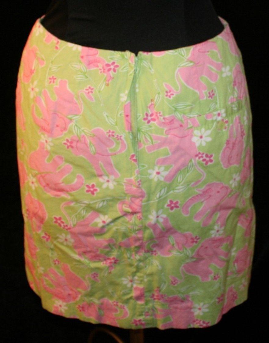 6122f1500b4918 Lilly Pulitzer Womens Straight Skirt Sz 4 Elephants Pink Green Elephants  Pencil