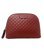 New Gucci Red Leather Micro GG Guccissima Cosmetic Toiletry Bag 449893 - $233.75