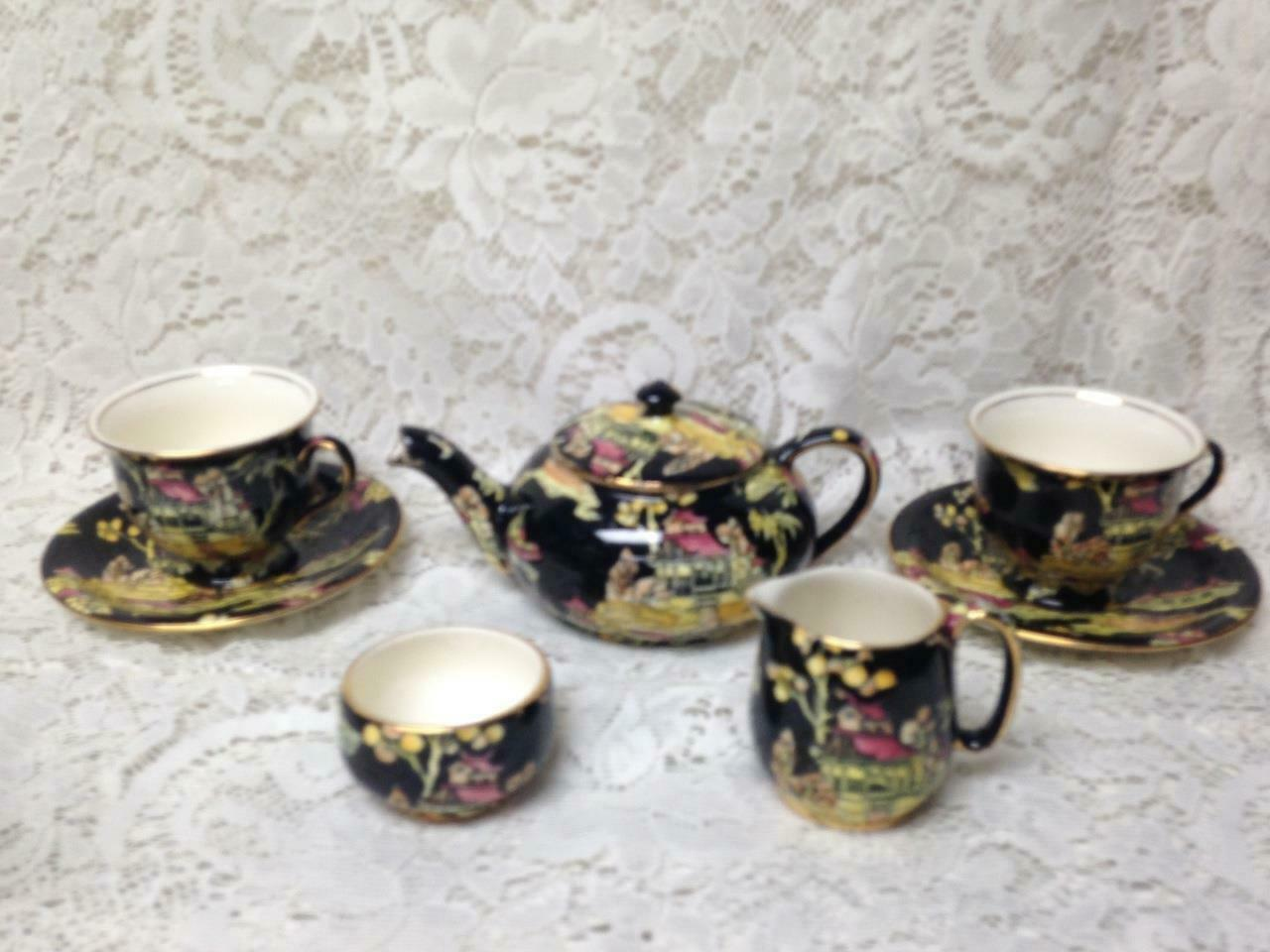 Primary image for 1951, Royal Winton, Pekin, Variant, Polychrome or Gaudy Blue Willow 8pc Teas Set