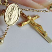 18K YELLOW GOLD ROSARY NECKLACE MIRACULOUS MARY MEDAL & JESUS CROSS ITALY MADE image 4