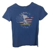 Junk Food Kids T-shirt Size 5T Snoopy Flag USA Blue Short Sleeve Unisex - $6.29