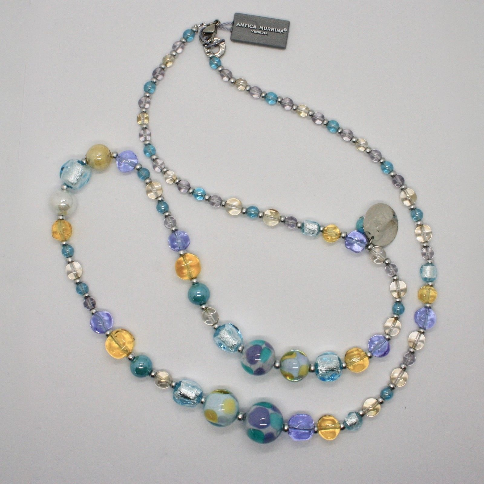 ANTICA MURRINA VENEZIA NECKLACE WITH MURANO GLASS BEIGE BLUE YELLOW COA82A07