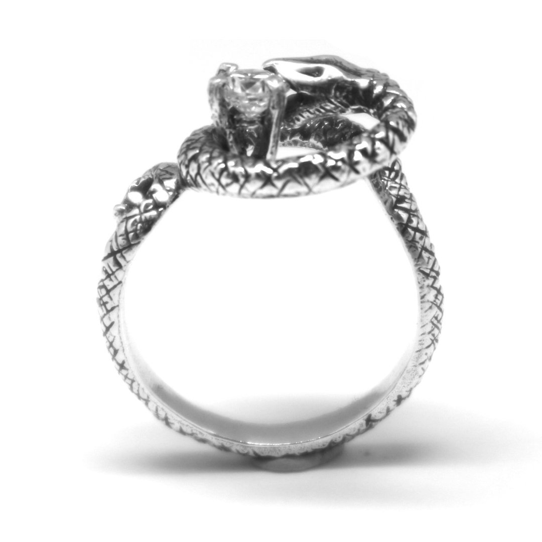Silver Snake Biting Ring image 5