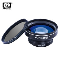 APEXEL 3 in 1 HD Camera Lens Kit 0.63x WIDE MACRO LENS with 52mm CPL Filter - $30.86