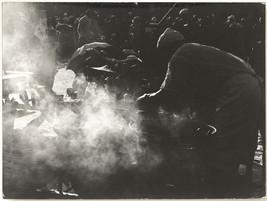 Oversized original 1960s hazy view of street vendor, art photo - $27.66