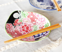 Pink Cherry Blossoms Small Appetizer Coupe Plate Flat Bowl With Chopstic... - $18.99