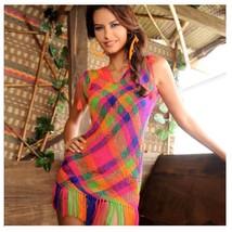 NEW Authentic Wayuu etnic coverup net beach dress mini & midi fringe mul... - $40.00+