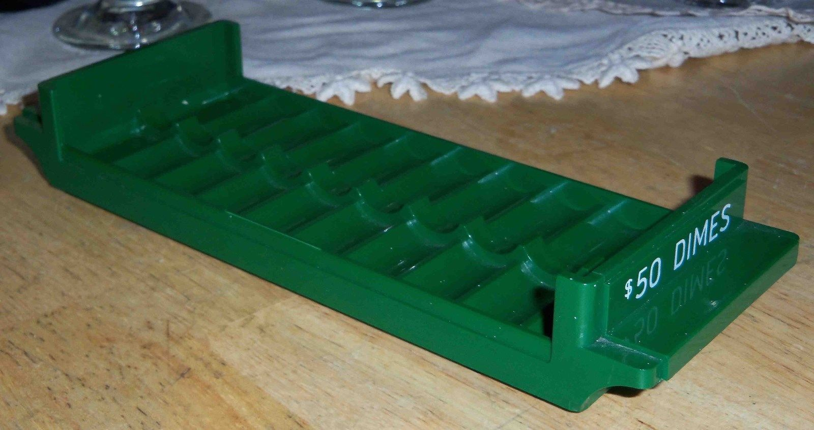 Primary image for Plastic Dime Coin Roll Holder $50 / 10 $5 Rolls Green Color-Coded Bank Equipment