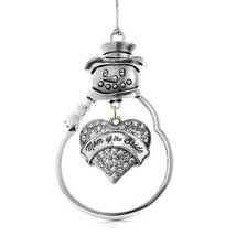 Inspired Silver Silver Mom of the Bride Pave Heart Snowman Holiday Decoration Ch - $14.69
