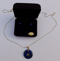 Vintage Italian 14K Yellow Gold Chinese Lapis Lazuli Pendant Stud Earrings - $365.00