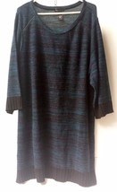 Lane Bryant Sweater Woman's Size 26/28 100% Acrylic Dark Blue Brown Cuffs - $24.99