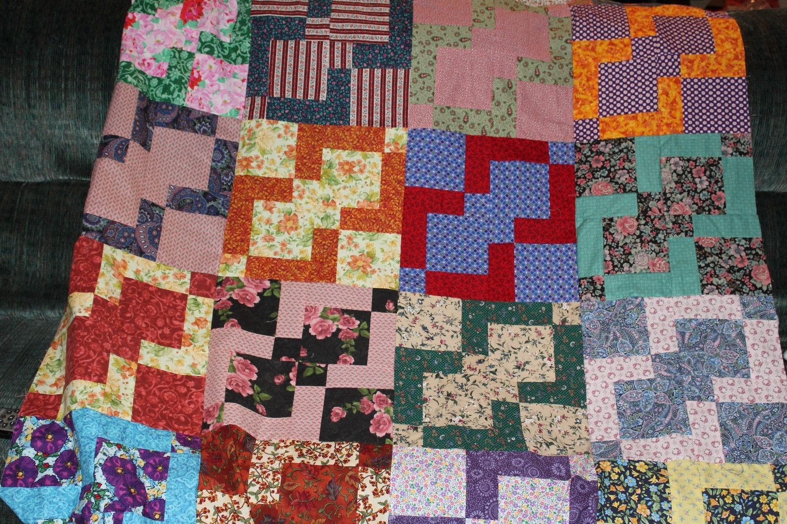 quilt handmade machine quilted all cotton queen size colorful 86 by 96 inches
