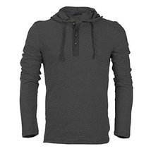 Royal Knights Men's Lightweight Slim Fit Pullover Henley Shirt Hoodie (Large, 03