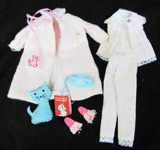 Skipper Dreamtime outfit 1962 sm stain coat complete cat phone slippers PJs - $34.60