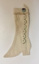 Handmade Christmas Stocking Ladies Boot Made From Heavy Natural Muslin 17in - $13.16