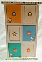 "2000 Sanrio HELLO KITTY TRINKET JEWELRY BOX Three Drawers 11"" TALL Wood ... - $38.25"