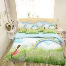 3D Rainbow Lawn 26 Bed Pillowcases Quilt Duvet Single Queen King US Lemon - $102.84+