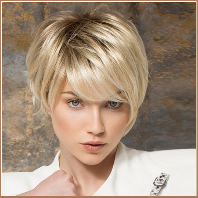 Primary image for Ash Blonde Short Straight Hair with Long Bangs Pixie Style Cut Full Lace Wig