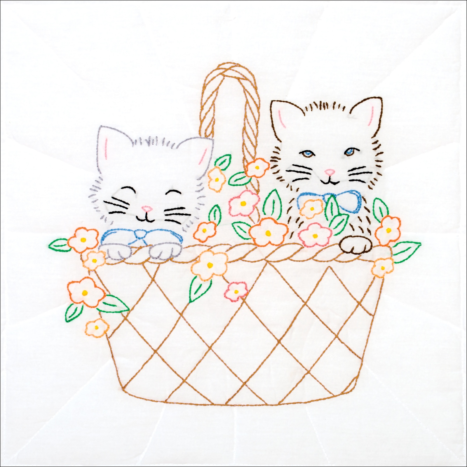 "Primary image for Jack Dempsey Stamped White Quilt Blocks 18""X18"" 6/Pkg Kittens In A Basket"