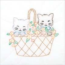 "Jack Dempsey Stamped White Quilt Blocks 18""X18"" 6/Pkg Kittens In A Basket - $12.43"