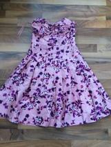 Express Dress size 2 Pink Floral 100% Silk Womens Strapless Dress Pleated Skirt - $21.32