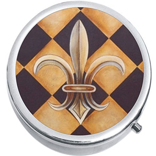 Primary image for Checkered Fleur De Lis Medicine Vitamin Compact Pill Box