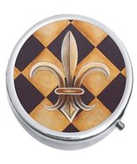 Checkered Fleur De Lis Medicine Vitamin Compact Pill Box - $9.78