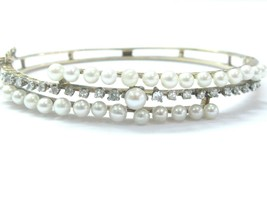 Fine Vintage Pearl & Diamond Yellow Gold Bangle Bracelet .40Ct - $944.96