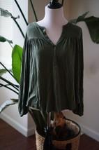 Gap Womens size Medium Pullover Blouse Top Green Slub Peasant Swing Popover - $17.64